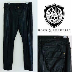R&R • EUC Black Kashmiere Leather Jeans 8/28